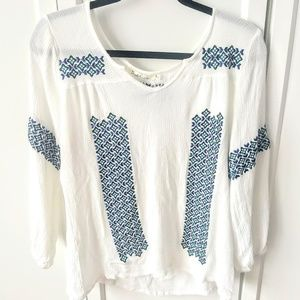 Solitaire Aztec Peasant White Embroidered Blouse